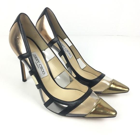 8098bcd54e13 Jimmy Choo Shoes - Jimmy Choo Romy Clear Gold Black Leather Heels